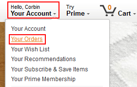 Your Amazon orders menu