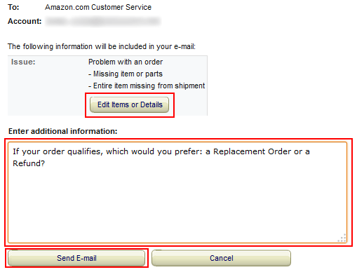 Contact Amazon by email