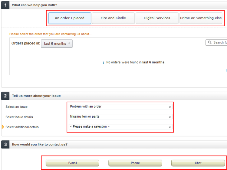 Amazon guided customer service