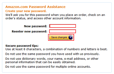 Choose new Amazon password