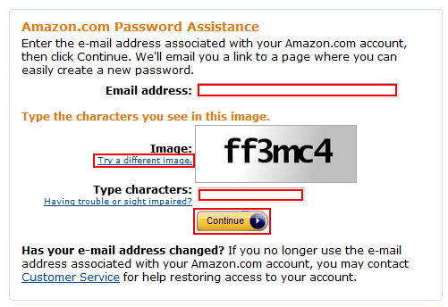Amazon password reset email