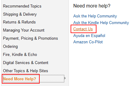 Amazon Contact button