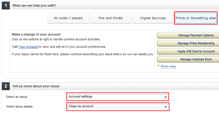 Amazon close account button