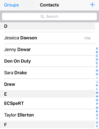 Scroll through contacts
