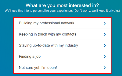 Select a reason for using LinkedIn