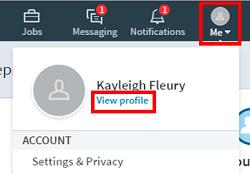 LinkedIn profile menu