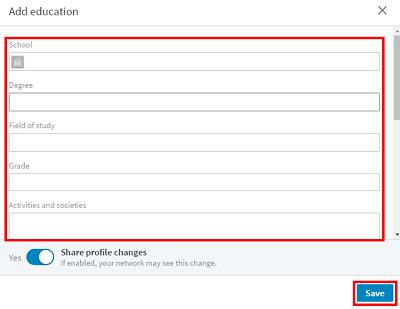 LinkedIn profile education form