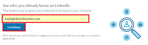 Import contacts from your email address