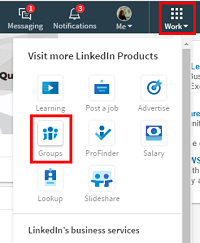 LinkedIn groups menu