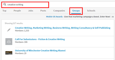Search for specific LinkedIn groups