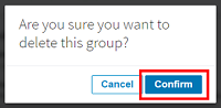 Confirm that you want to delete the group