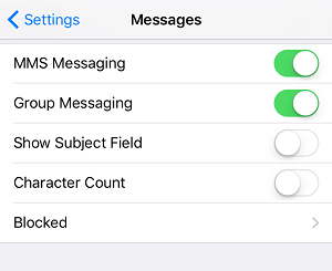iMessage blocked contacts menu