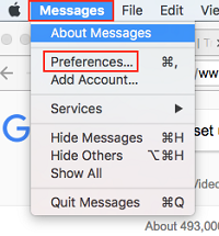Message Preferences menu