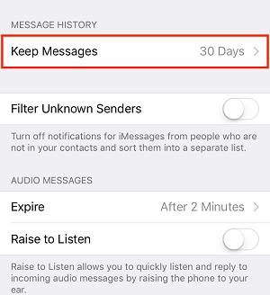 Keep Messages button
