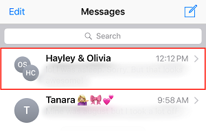Choose conversation you want to delete a message from