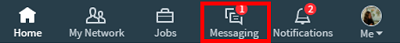 LinkedIn Messages menu