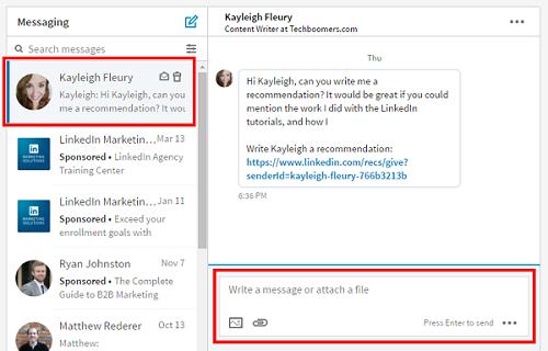 Respond to a LinkedIn message