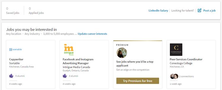 LinkedIn job navigator homepage