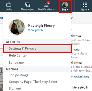 Change LinkedIn Settings menu