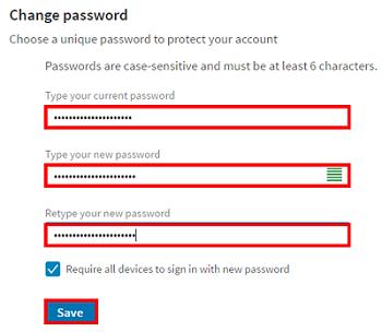 Form to change LinkedIn password