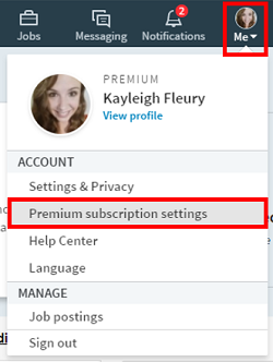 Premium subscription settings menu