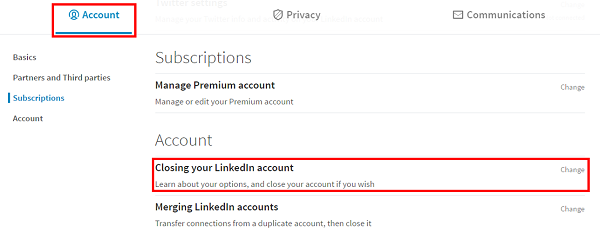 Link to close LinkedIn account