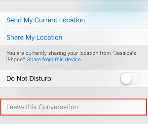 Leave group conversation button