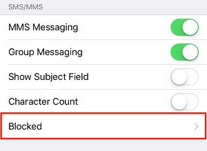 Blocked contacts menu