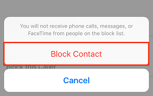 Confirm you want to block a contact