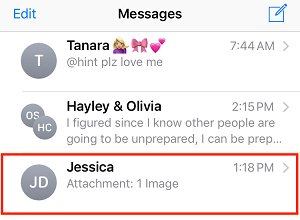 Select a text message conversation
