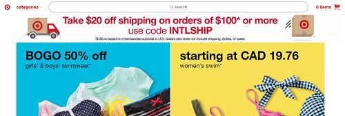 Target homepage