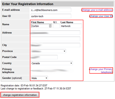 Account registration information form
