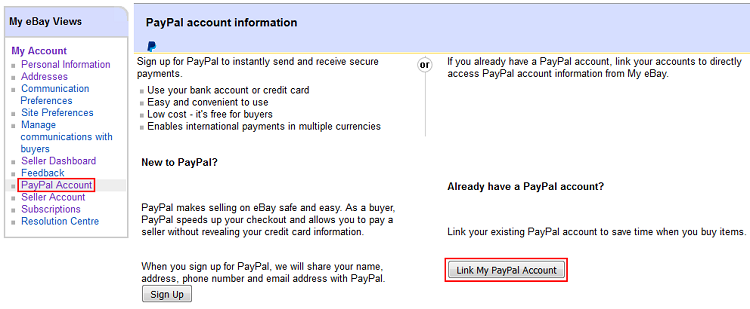 Link PayPal account button