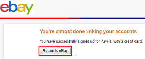 Return to eBay page button