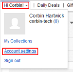 eBay Account Settings button
