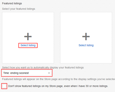 Manage featured listings menu