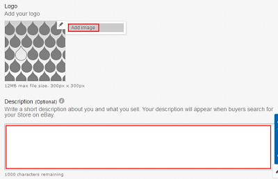 Add logo and description to eBay Store