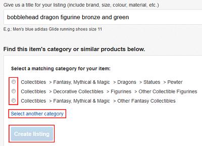 Choose an eBay category