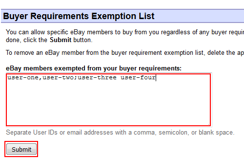 Add a user to the exemption list