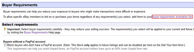 Buyer Requirements Exemption List button