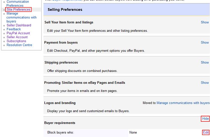 Buyer Requirements options