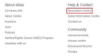eBay Resolution Center button