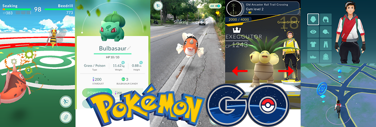 Various image from Pokemon Go with logo