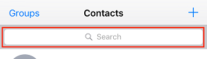 Type name of contact in search bar