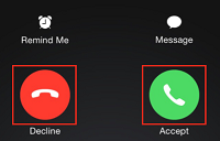 Accept or Decline call button