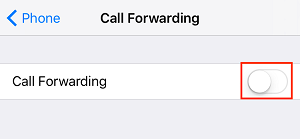 Toggle to enable Call Forwarding