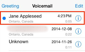 Voicemail messages screen