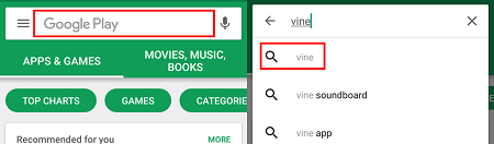 Search bar in Google Play Store