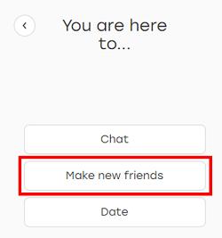 Select reason for joining Badoo form