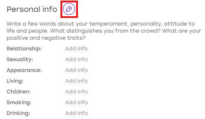 Edit Badoo profile with pencil icon